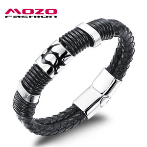 MOZO FASHION Hot Brand Vintage Jewelry Men's Bracelets Black Leather Rope Chain Stainless Steel Magnetic Buckle Bracelet MPH944