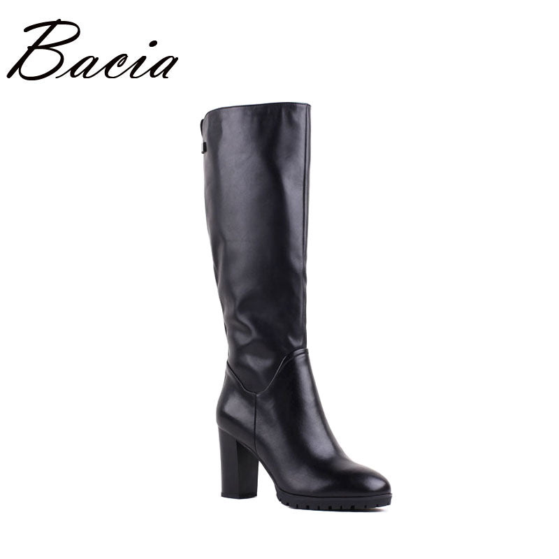 Bacia Brand High Quality Boots Genuine Leather Boots Square Heels Shoes Wool Fur Boots Round Toe Black Women Fashion Shoes VB087