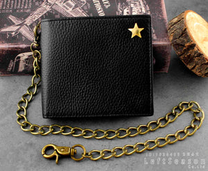 Gold Star Real Leather Biker Chain Wallet Purse Men's Boys Gift