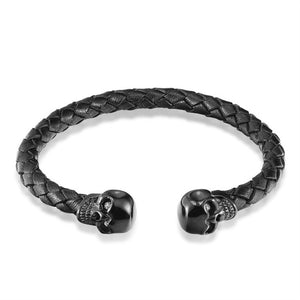 JANEYACY HOT Top Quality Leather Bracelet Men's Stainless Steel Leisure Skull Bracelet Ladies Fashion Jewelry Gifts