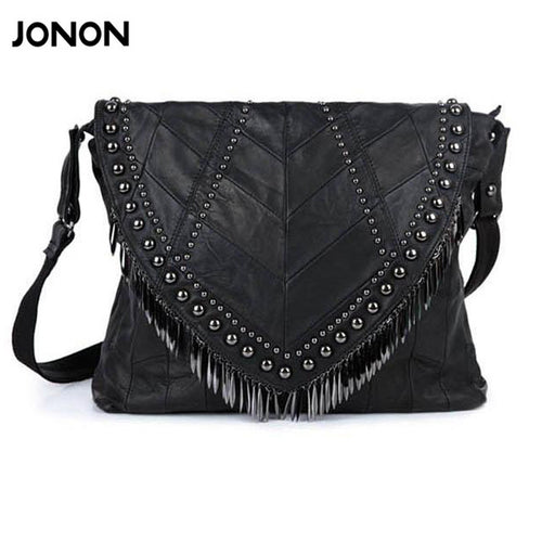 All-match Genuine Leather Women Handbags Designer Tassel Female Shoulder Bags Rivet Bag Woman Crossbody Bag Studs  Ladies