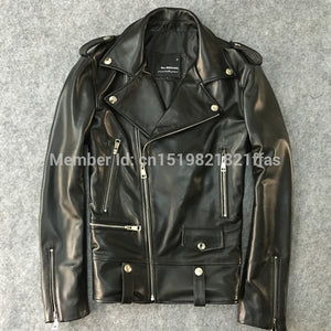 Factory genuine leather clothing male slim short design motorcycle jacket outerwear men's sheep skin real leather clothing