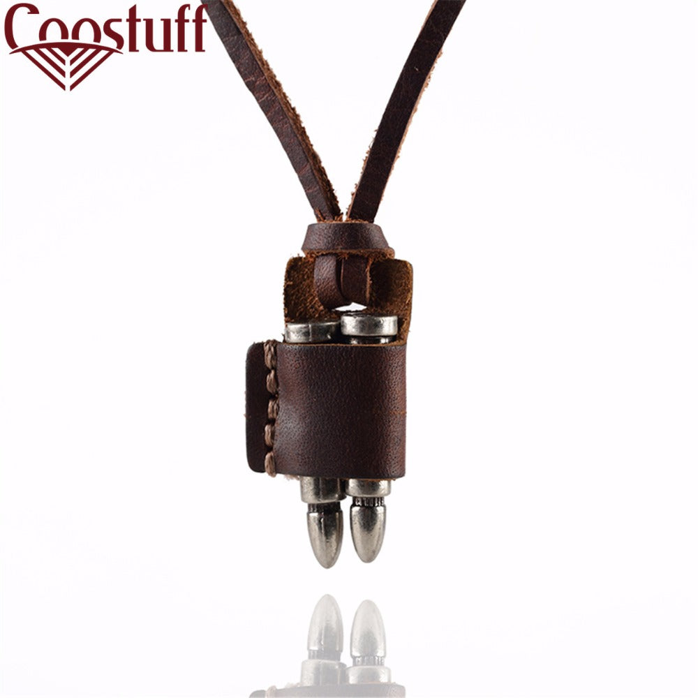 Punk Jewelry Men necklaces & pendants maxi necklace Vintage Bullet Pendant Leather Necklaces colar collares choker necklace Men