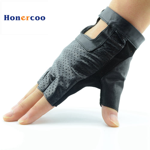 [HONERCOO] Men Women Genuine Leather Fingerless Gloves Tactical Gloves Half Finger gym Workout Fitness Driving Male Gloves