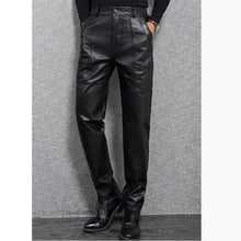 Winter Warm Black Genuine Leather Pants Men Fashion Casual Plus Size Motorcycle Pants Men Leather Joggers Pantalon Homme XXXL