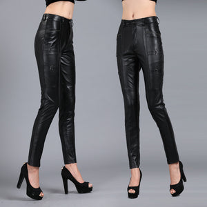 S-4XL!Women Slim Pencil Pants All-match Solid Color Thickened Genuine Leather Pants Plus Size Sheepskin Capris PANTS03