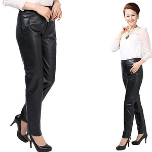 New Fashion Women Soft Leather Pants Female Casual Leggings Long Trousers Black Plus Size M-4XL