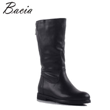 Bacia New Women Genuine Leather Boots Vintage Style Calf Booties Soft Cowhide Women's Shoes side Zip Boots zapatos mujer SA080