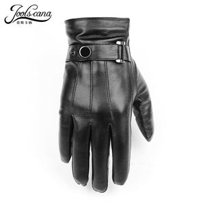 JOOLSCANA gloves natural leather men winter Sensory tactical gloves made of  Italian sheepskin fashion wrist touch screen drive