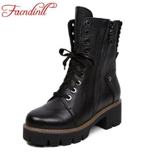 FACNDINLL women boots fashion genuine leather shoes woman ankle boots med heels round toe black motorcycle boots casual shoes