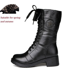 Autumn&Winter Fashion Women Boots Real Leather Martins Military Boots Low Heel Ankle Plush Casual Shoes For Girls Ladies