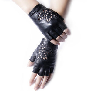 Genuine Leather Gloves Female Semi-Finger Sunscreen Motorcycle Half Finger Gloves Women Short Design Spring And Autumn Thin