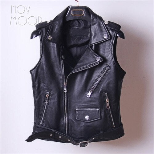 Black red genuine leather vest stud lambskin leather jacket women waistcoat off-center zip placket chalecos mujer colete LT152