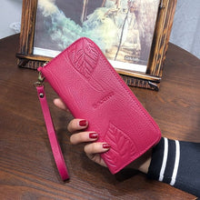 AOEO Ladies Embossing Wallet Female With Genuine Leather Wristlet Card & Id Holders Money Purse For Womens Wallets And Purses