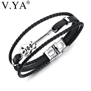 V.YA Multilayer Genuine Leather DIY Guitar Man Bracelets Classical Engrave Rope Chain Design Men Jewelry Magnet Buckle Drop Ship