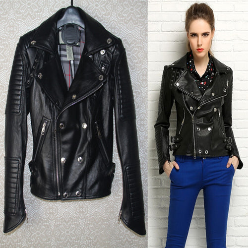 Factory genuine leather clothing design slim female short paragraph of sheepskin motorcycle real leather jacket turn-down collar