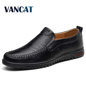 VANCAT Loafers Men Shoes Breathable Comfortable Genuine Leather Flats Spring Summer Fashion Casual Shoes Man Plus Size 38-47