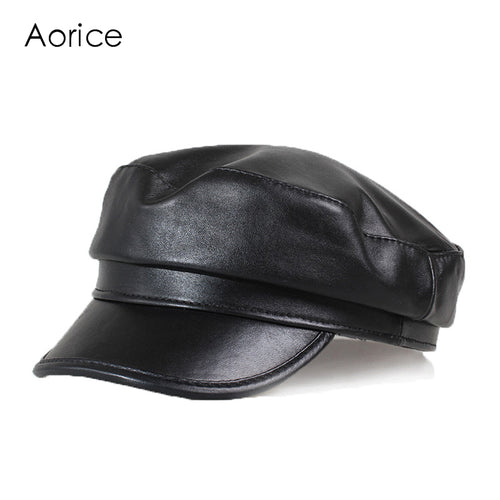 Aorice Winter Genuine Leather Men Baseball Cap Hat CBD High Quality Men's Real Sheep Skin Leather Adult Solid Hats Caps HL151-B