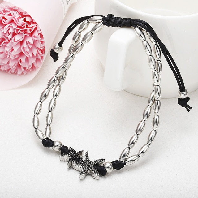 Starfish Anklet Vintage Ankle Bracelet For Women Buddha Foot Jewelry Summer Barefoot Beach ns32
