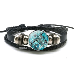 Sea Turtle Bracelet Sea Turtle Octopus Dolphin Starfish Glass Beads Button Bracelet Anklet Punk Style Men Women Fashion