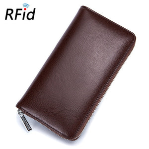 Unisex Genuine Leather Long Wallet Women and Men Wallets and Purses  Luxury Brand Card Holder Rfid Large Phone Female Male Lady