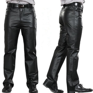 Fashion Leather Pants Men Genuine Leather Straight Pants M-7XL Men's Plus Size Flat Zipper Fly Regular Motorcycle Pants