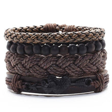 Trendy Vintage 3-4pcs/set Handmade Woven Genuine Leather Rudder Leaf Lucky 8 Charm Women Bracelets Men Homme Femme Male Jewelry