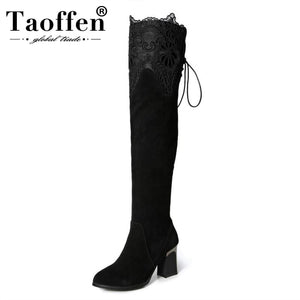 TAOFFEN Women Genuine Real Leather Over The Knee Boots Winter Boots Sexy High Heel Round Toe Zipper Women Boots Shoes Size 33-42