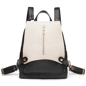2018 Snake Pattern Cowhide Leather Women Backpack Teenager Girl High School Bag 13inch Laptop Bagpack Anti-theft Travel bag