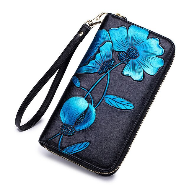 Fashion Flower Genuine Leather Women Wallet Female Long Walet Women Lady Clutch Money Bag Coin Purse Phone Pocket Portomonee D33