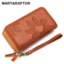 2019 Genuine Cow Leather Women Double Zipper Long Wallet Large Capacity Ladies Purse Phone Bag Credit Cards Holder Money Clutch