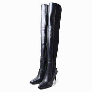 Sexy Women Genuine Leather Over The Knee Boots High Heels Pointed Toe Stretch Fabric Long Sock Boots Stiletto Motorcycle Shoes