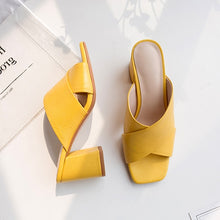 Meotina Women Sandals Summer Slides Genuine Leather Slides Thick High Heel Shoes Cow Leather Open Toe Lady Sandals Yellow 33-42