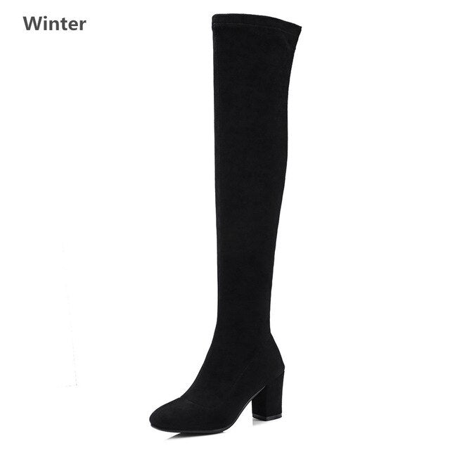 Insicre New Genuine leather fashion boots high heels shoes woman black suede Pink Kid Suede Spring/Autumn zipper 33-43 size