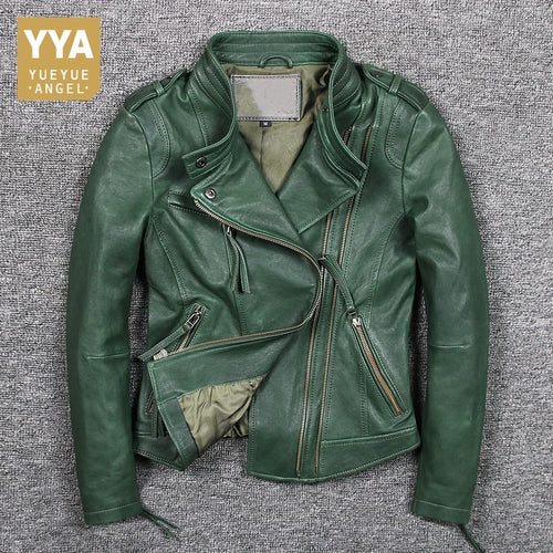 Italy 2019 New Green Sheepskin Genuine Leather Jacket Women Motor Windproof Biker Real Leather Coat Zip Punk Jaqueta De Couro