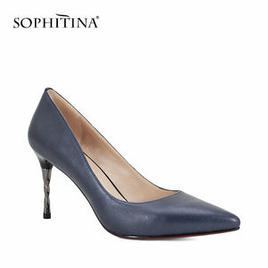 SOPHITINA Brand Genuine Leather Pumps Sexy Pointed Toe Super High Spiral Heel Shallow Party Shoes New Career Elegant Pumps W18