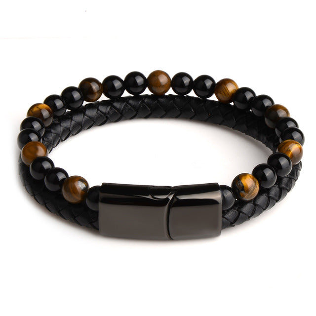2019 Fashion Men Jewelry Natural Stone Genuine Leather Bracelet Black Stainless Steel Magnetic Clasp Tiger eye Bead Bracelet Men