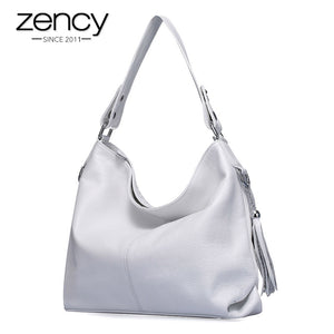 2019 New Fashion Soft Real Genuine Leather Tassel Women Handbag Elegant Ladies Hobo Shoulder Bag Messenger Purse Satchel White