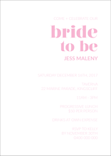 Bridal Shower Invitation Gold Coast