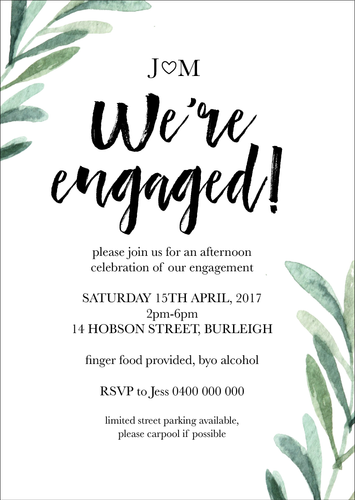 Modern Greenery Engagement Party Invitation