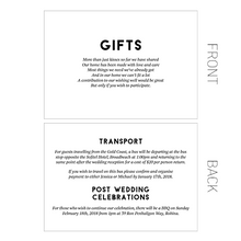 Modern Wedding Stationery - Details cards