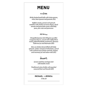 Modern Wedding Stationery - Menu