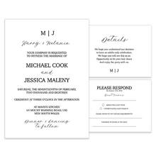 Personalised Black Tie Wedding Invitation