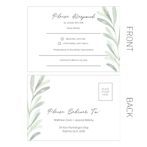 Lush Wedding RSVP Cards - Gold Coast, Australia