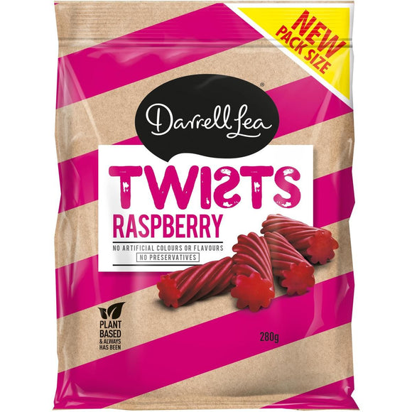 DARRELL LEA TWISTS RASPBERRY 280G X 12