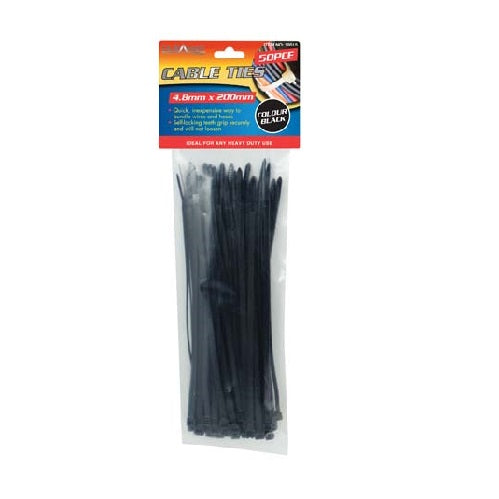 CABLE TIES 50PK 4.8MM X 200MM - BLACK