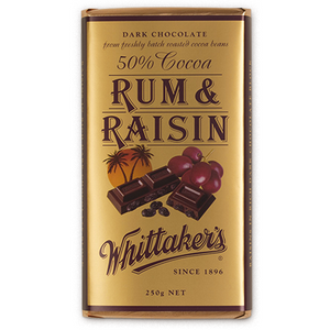 WHITTAKER'S BLOCK RUM & RAISIN 250G X 12
