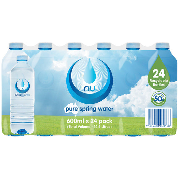 NU PURE SPRING WATER 600ML X 24