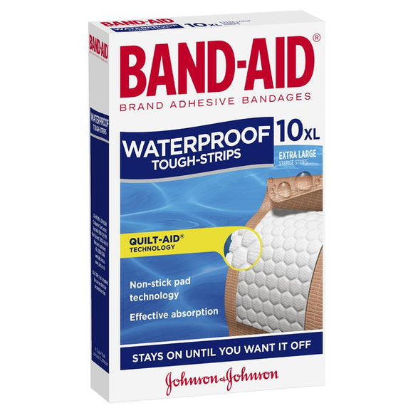 BAND-AID WATERPROOF TOUGH STRIPS XL 10'S X 6