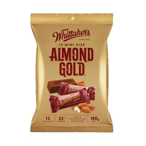 WHITTAKER'S MINI SIZE ALMOND GOLD 180G X 12